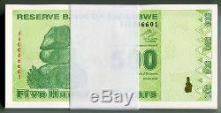 Zimbabwe 500 Dollars X 100pcs 2009 P98 Bundle Des Factures De Monnaie Unc Consécutives