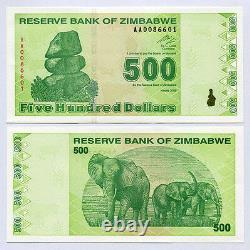 Zimbabwe 500 Dollars X 25 Pcs 2009 P98 1/4 Bundle Consécutifs Billets De Change Unc