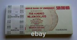 Zimbabwe 500 Millions De Dollars Ac 2008 P60 Full Bundle Unc Currency