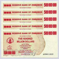 Zimbabwe 500 Millions De Dollars X 100 Pièces Ac 2008 P60 Lot Complet Factures De Change Unc