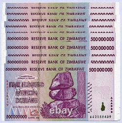 Zimbabwe 500 Millions De Dollars X 10 Billets Série Aa/ab 2008 P82 Unc Billets De Monnaie