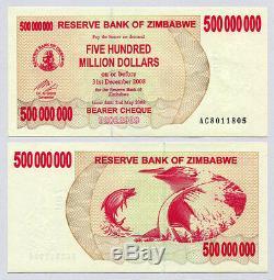 Zimbabwe 500 Millions De Dollars X 50 Pièces Ac 2008 P60 1/2 Liasse De Billets De Banque Unc