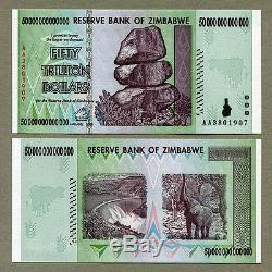 Zimbabwe 50 Billions De Dollars X 50 Pièces Aa 2008 P90 Factures De Billets Unc Consécutives