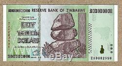 Zimbabwe 50 Dollars Billets De Billion Remplacement Za 2008 P90 Facture De Monnaie Unc