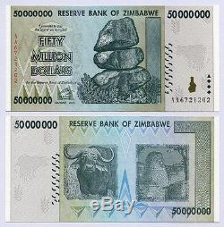 Zimbabwe: 50 Millions De Dollars X 100 Pièces Aa 2008 P79 Bundle Une Devise Unc Consécutive