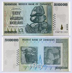 Zimbabwe 50 Millions De Dollars X 25pcs Bundle Aa 2008 P79 Unc Monnaie Consécutive