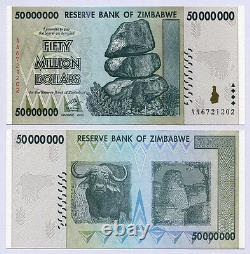 Zimbabwe 50 Millions De Dollars X 50pcs 2008 P79 1/2 Paquet De Devises Cnu