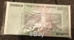 Zimbabwe 50 Trillion Dollar Banknote - Monnaie En Papier Unc (100 Pièces Consécutives)