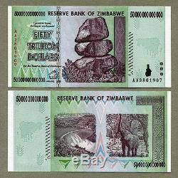 Zimbabwe 50 Trillions De Dollars X 10 Pcs Aa 2008 P90 Factures De Change Unc Consécutives