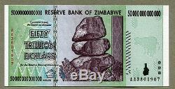 Zimbabwe 50 Trillions De Dollars X 5 Pcs Aa 2008 P90 Factures De Change Unc Consécutives
