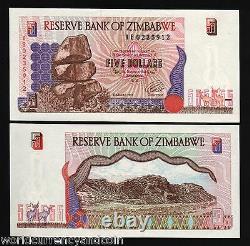 Zimbabwe 5 Dollars P-5 B 1997 Remplacement Cerfs Dark Print Unc Currency Banknote