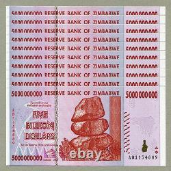 Zimbabwe 5 Milliards De Dollars X 10 Pcs Ab 2008 P84 Factures Monétaires Consécutives Unc