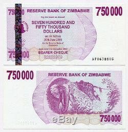 Zimbabwe 750 Mille Dollars X 25 Pcs 2007 P52 Consécutifs De Billets De Banque Unc