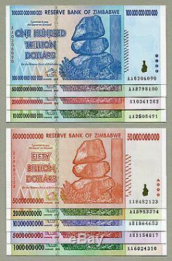 Zimbabwe Billets De Banque De 1 Milliard À 100 Trillions De Dollars (2008) Monnaie Complète Unc